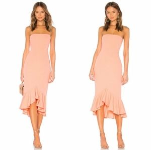 Lovers + Friends Coral Crepe Tyler Midi Dress